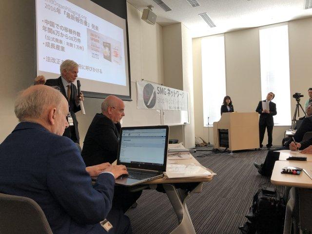 1月23日、中国臓器移植の問題について取り組むSMGネットワークの発足会が参議院議員会館で開かれた。マイクを手にするのは、同問題を調査する元カナダ政府アジア太平洋地域担当大臣デービッド・キルガー氏、その右がイスラエルの心臓外科医ジェイコブ・ラヴィ氏、手前は国際人権弁護士デービッド・マタス氏(山田宏参議院議員Twitterより)