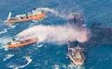 東シナ海で中国の貨物船と衝突し炎上したイランタンカー「サンチ」。写真は1月10日中国交通運輸省が提供したもの。(Flickr)