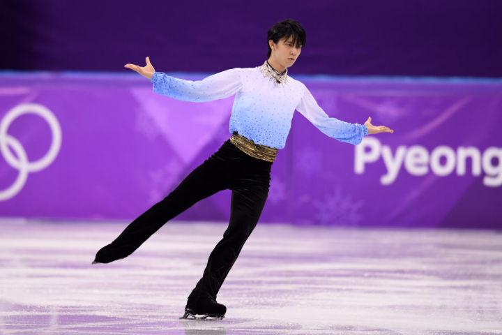 2月16日、平昌オリンピック・フィギュアスケート男子ショートプログラムの演技で完ぺきな演技を見せた羽生結弦(Robert Cianflone/Getty Images)