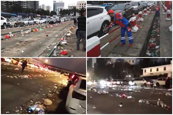 立ち往生した車から捨てられたごみが散乱している。(ネット写真)