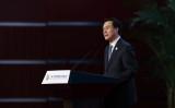 2017年5月、北京で開かれた「一帯一路フォーラム」で講演する楊晶氏。(Lintao Zhang/Pool/Getty Images)