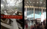 3月4日、江西省の南昌空港で、屋根から張り出したヒサシの裏側が大量に落下する事故が起きた。メディアは強風説を強調するが、ずさん工事もネットでは指摘されている(スクリーンショット)