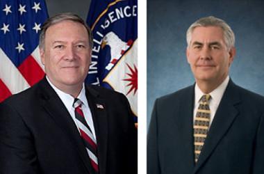 新任のポンペオ国務長官(左)とティラーソン前国務長官(右)。(大紀元による合成写真)