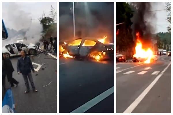 中国四川省徳陽市中江県で自動車衝突事故が発生した。2台のうちの白い車がその後炎上した。(スクリーンショット)