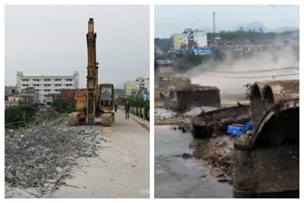 広東省の旧合水大橋がこのほど、修繕工事実施中に突然崩落した。写真は修繕工事中の様子と崩落後の様子(大紀元合成)