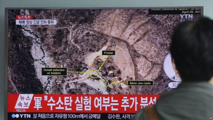 2016年4月、韓国のテレビが北朝鮮の核実験施設の衛星写真を報道(VOA)