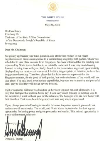 ホワイトハウスは24日、トランプ大統領から北朝鮮の金正恩・委員長にあてた署名付き文書を発表。6月12日シンガポールで予定された会談は断るとの内容(スクリーンショット)