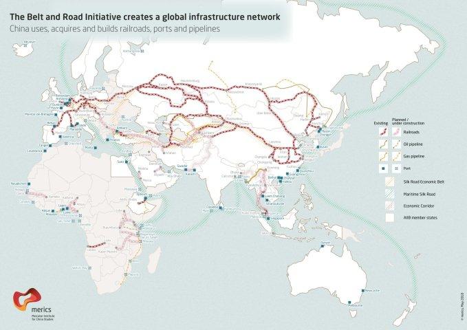 ドイツ拠点の中国研究シンクタンクの作成した一帯一路に関するプロジェクトを示す地図(The Mercator Institute for China Studies)