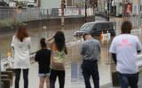 7日、道路が冠水した広島県内の道路(GettyImages)
