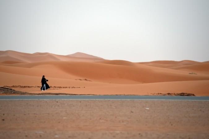 ドイツの研究では、中東や北アフリカにある急速に極端な灼熱気候になりつつある地域では、人類の居住に適さないためこれから数十年の間に数万~数百万の人々は他の地域に移住しなければならないだろう。写真は中東の砂漠(FAYEZ NURELDINE / AFP)