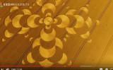 7月27日早朝、独・バイエルンの麦畑に、一夜にして直径180メートルのミステリーサークルが出現した。(youtubeスクリーンショット)
