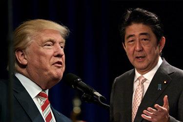 トランプ次期大統領がトランプ・タワーの自宅で安倍晋三首相と会談した(大紀元合成)