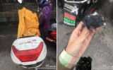 14日朝中国杭州市蕭山区では突然「黒い雨が」が降った。近くにある工場に放置された缶から燃料の石油コークス粉が漏れて空中に舞い上がったことが原因だとされる。黒い粉末に覆われたバイクと拭き取ったティッシュ。(ネット写真)
