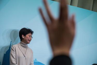 香港の林鄭月娥・前政務長官が、中国当局の駐香港特別行政区聯絡弁公室(中聯弁)の強い支持を受けて、次期行政区長官選挙で勝利した(GettyImages)