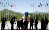 中国主導の経済サミット「一帯一路」が北京で2017年5月15日、16日に開かれた。会場外(Getty Images)
