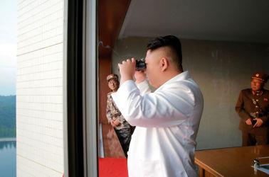 朝鮮労働党委員長・金正恩氏(STR/AFP/Getty Images)