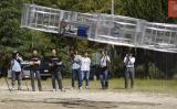 トヨタ社の社員有志グループが開発中の「空飛ぶ車」試作品のテスト飛行(YouTube screenshot)