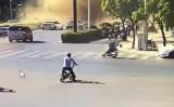 7月21日午前、杭州市西湖区のレストランで爆発が発生した(目撃者撮影)