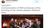 ベルギーのロラン王子は、中国人民軍創設90周年を祝うパーティに無断で出席したとして、王室手当の減額と罰金を科される。写真はロラン王子のTwitterアカウントからスクリーンショット