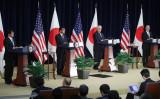 米国ワシントンDCで8月17日、3年ぶりとなる日米安全保障協議委員会(日米「2+2」)が開催された。向かって左から、日本側の小野寺五典防衛大臣、河野太郎外務大臣、米国側のレックス・ティラソン国務長官、ジェームズ・マティス国防長官(Mark Wilson/Getty Images)
