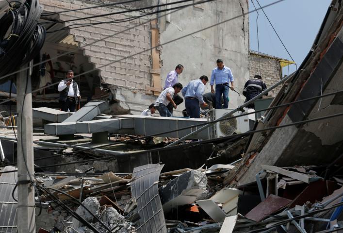 9月19日、メキシコでマグニチュード7.1の地震が発生。メキシコ市で撮影(2017年 ロイター/Henry Romero)