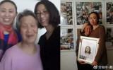 一家団欒の写真(左)と、江さんの死を悲しむ祖母と母親(右)。メガネをかけている女性は江歌さん。(ネット写真)