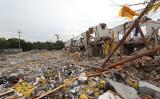 寧波市で26日に起きた大爆発の現場写真。(STR/AFP/Getty Images)