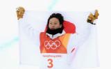 平昌オリンピック6日目の2月14日、スノーボード男子ハーフパイプの決勝が行われ、平野歩夢が2五輪連続の銀メダルを獲得した(David Ramos/Getty Images)