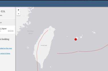 沖縄県西表島で震度5弱の地震が発生した。画像は米国地質研究所の地震マップ(USGS)