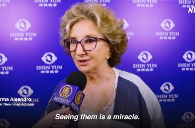1985年映画「オフィシャル・ストーリー」で、カンヌ映画祭最優秀女優賞を受賞した女優ノルマ・アレアンドロ(Norma Aleandro )氏は、神韻を鑑賞し、人々に希望をもたらすパフォーマンスと語った(NTDスクリーンショット)