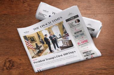 トランプ大統領就任100日を報じる英文大紀元エポックタイムズ(Epoch Times)