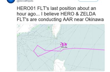 23日21時頃、米軍戦略爆撃機2機が台湾南のバシー海峡を通過し、引き返した(@Aircraft Sports)