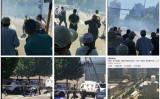 7月26日、中国北京市の米国大使館の近くで爆発が起きた(ネット写真、大紀元が合成)