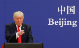 2017年11月、中国を訪問したトランプ米大統領(Photo by Thomas Peter-Pool/Getty Images)