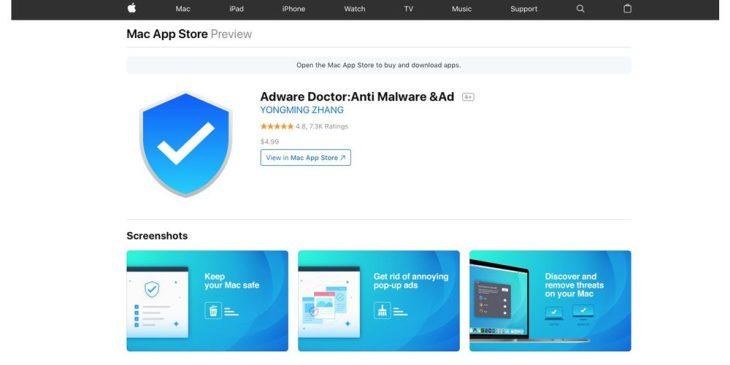 アップルストアで高評価を得ていたアプリ「Adware Doctor(アドウェア・ドクター)」は、中国にあるサーバにユーザ情報を送信するスパイウエアであると、セキュリティ専門家は指摘する(スクリーンショット)