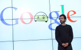 2012年、カリフォルニア州でグーグルの運転支援技術について講演する同共同代表セルゲイ・ブリン氏(Justin Sullivan/Getty Images)