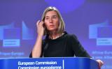 EU外交安全政策高級代表フェデリカ・モゲリーニ氏、9月14日、アフリカ欧州会議でスピーチ(EMMANUEL DUNAND/AFP/Getty Images)