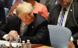 9月26日、ニューヨークで開かれた国連安全保障理事会で円卓に座る米トランプ大統領(GettyImages)