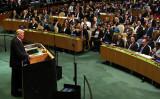 9月25日、ワシントンで開かれた国連総会の一般演説で、米トランプ大統領は社会主義・共産主義を批判し、愛国と主権重視について語った(Spencer Platt/Getty Images)
