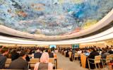 スイスのジュネーブで、国連人権理事会の第三回中国状況会議が開かれた(ALAIN GROSCLAUDE/AFP/Getty Images)