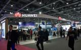 12月6日、北京で開かれた中国モバイル国際パートナーカンファレンスにあるファーウェイ(華為技術)の出展ブース(VGC/Getty Images)