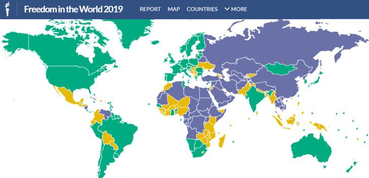 人権監視団体フリーダムハウスは2月4日、年次報告書「2019年世界の自由度」を発表した(freedomhouse.org)