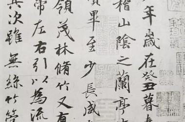 「蘭亭序」(らんていじょ)の一部–王羲之が書いた書道史上最も有名な書作品(ウィキペディア、パブリック・ドメイン)