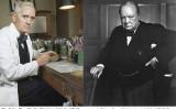 写真左: アレクサンダー・フレミング(1881−1955)はイギリスの細菌学者であり、ペニシリンの発見者として知られている。 写真右: ウィンストン・チャーチル(1874−1965)はイギリスの政治家、作家。(ウィキペディア)
