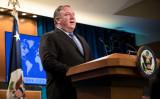 6月21日、米国務省の2018年宗教の自由に関する年次報告書の発表に合わせて会見を開くマイク・ポンペオ長官(GettyImages)