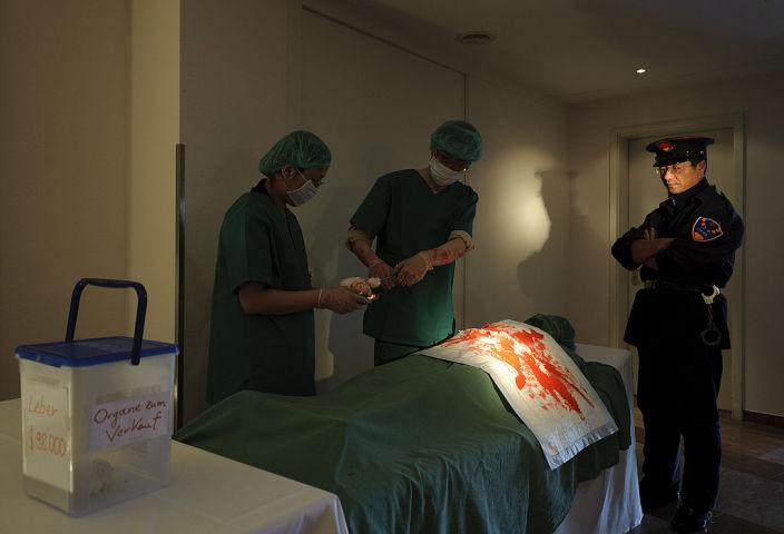 ドイツで行われた、中国臓器収奪問題についての周知目的のデモンストレーション(GettyImages)