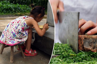 (L) A girl eating a meal. (Greg Baker/AFP/Getty Images) -- (R) A chef with a cleaver. (China Photos/Getty Images)
