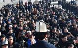今年1月17日、キルギスで反中デモが行われた(VYACHESLAV OSELEDKO/AFP/Getty Images)