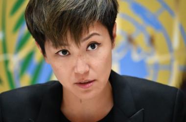 香港の歌手デニス・ホー氏は、7月8日、ジュネーブで開かれた国連人権理事会のスピーチで「中国を人権理事会から除外して」と訴えた(GettyImages)