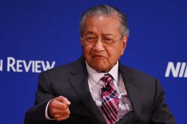 2019年5月、東京で開催された国際経済フォーラム「アジアの未来」で講演するマハティール首相(GettyImages)